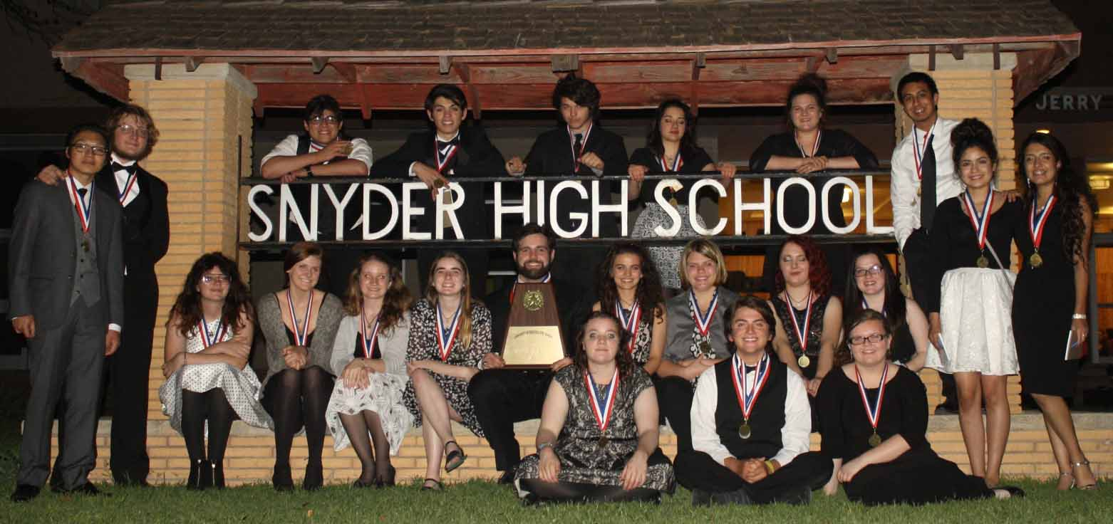 The One Act Play group after recieving their awards.