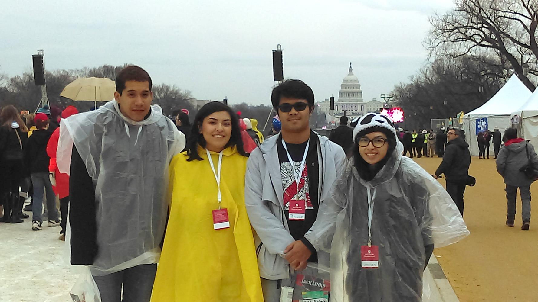 Gabriel Salazar, Gabrielle Ramos, Ryanne Mora and Jacinda Florez stand in front of the US Capital building as they wait for the Presidential Inauguration to get underway.